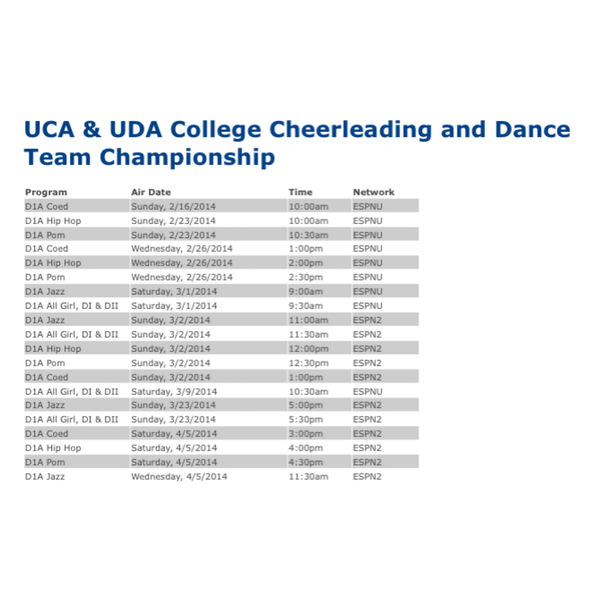 UCA College air dates