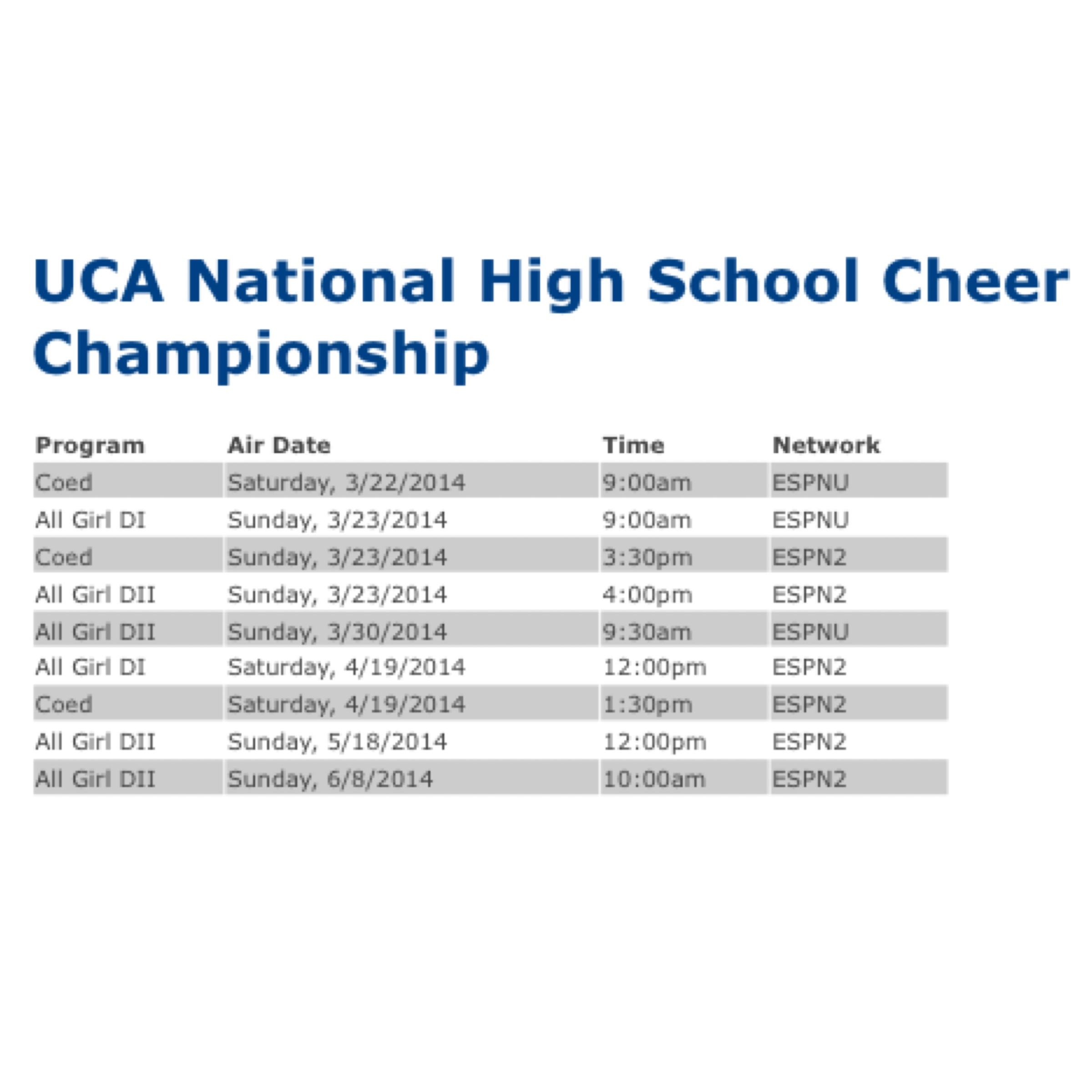 UCA NHSCC air dates
