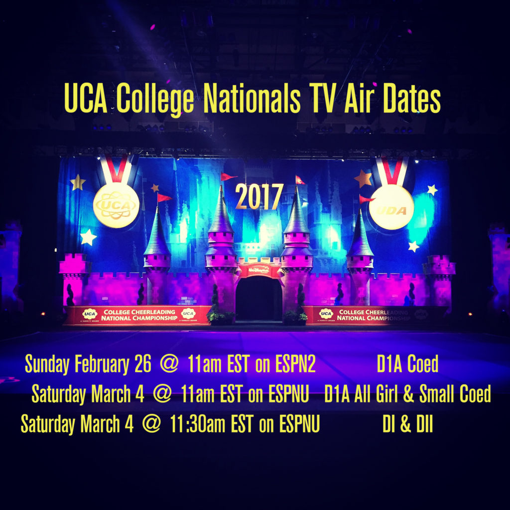 UCA College Nationals TV Air Dates 2017
